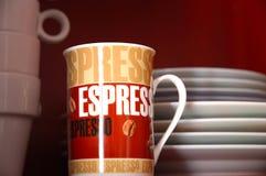 Espreeso mug. Inside kitchen cabinet Stock Photo