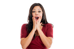 Espressione colpita della donna Immagine Stock