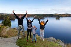 Espressione di autunno della famiglia Fotografia Stock