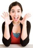 Espressione di una donna che vince qualche cosa di grande Fotografia Stock Libera da Diritti