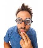 Espressione di wow con i vetri dell'occhio Fotografie Stock Libere da Diritti