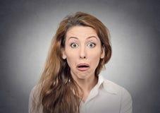 Espressione divertente del fronte sorpresa stupore Fotografie Stock Libere da Diritti