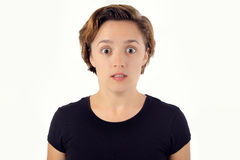 Espressione largamente osservata della donna Colpito, sorpreso, spaventato, stupito Fotografia Stock