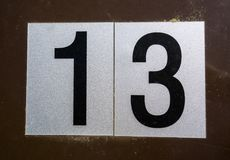 Espressione scritta nello stato afflitto numero trovato tipografia tredici 13 Fotografia Stock