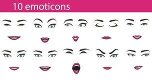 Espressioni del fronte degli emoticon fissate Fotografie Stock Libere da Diritti
