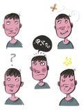 Espressioni del fronte del ragazzo Fotografie Stock