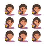 Espressioni del fronte della donna americana con capelli scuri con i fiori illustrazione vettoriale