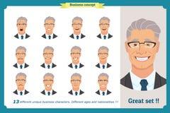 Espressioni del fronte di un uomo personaggio dei cartoni animati piano Uomo d'affari in un vestito ed in un legame royalty illustrazione gratis