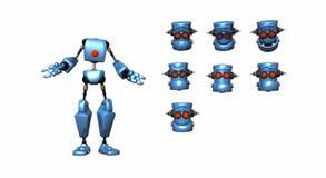 Espressioni del robot del fumetto Fotografie Stock