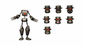 Espressioni del robot del fumetto Immagine Stock