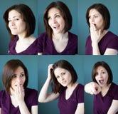 Espressioni della giovane donna Fotografia Stock