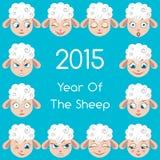 Espressioni delle pecore del fumetto fissate Immagini Stock