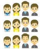 Espressioni di famiglia di quattro Immagini Stock