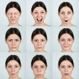 Espressioni facciali Fotografia Stock Libera da Diritti