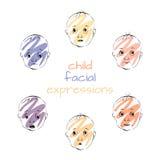 Espressioni facciali del bambino, illustrazione di vettore Immagini Stock