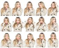 Espressioni facciali della donna Immagini Stock