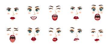 Espressioni facciali delle donne, gesti, gioia di sorpresa di timore di delusione di entusiasmo di tristezza di repulsione di sor illustrazione di stock