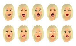 Espressioni facciali delle donne, gesti, gioia di sorpresa di timore di delusione di entusiasmo di tristezza di repulsione di sor illustrazione vettoriale