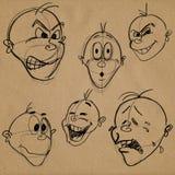 Espressioni facciali di caricatura Fotografia Stock