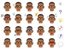 20 espressioni facciali differenti degli occhiali d'uso di un uomo di colore illustrazione di stock