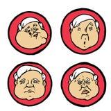 Espressioni facciali nei fronti del ` s dell'uomo, icone di emozioni messe Fotografia Stock