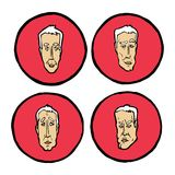 Espressioni facciali nei fronti del ` s dell'uomo, icone di emozioni messe Immagine Stock