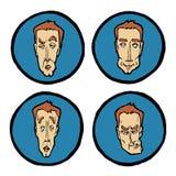 Espressioni facciali nei fronti del ` s dell'uomo, icone di emozioni messe Fotografia Stock Libera da Diritti
