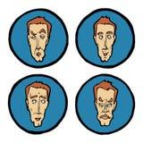 Espressioni facciali nei fronti del ` s dell'uomo, icone di emozioni messe Immagini Stock
