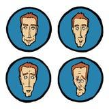 Espressioni facciali nei fronti del ` s dell'uomo, icone di emozioni messe Immagine Stock Libera da Diritti