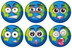 Espressioni facciali su terra illustrazione vettoriale