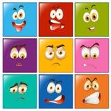 Espressioni facciali sui distintivi quadrati Immagini Stock Libere da Diritti