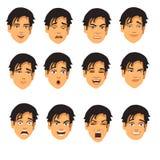 Espressioni maschii del fronte Fotografie Stock