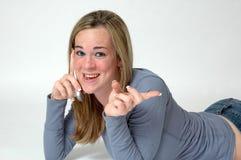 Espressioni teenager del telefono Fotografia Stock