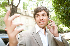 Businessman with ear set. Stock Photo
