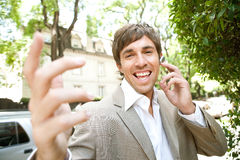 Businessman with ear set. Royalty Free Stock Photo