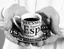 Espresso, μαύρος καφές, κατανάλωση του καφέ Στοκ φωτογραφία με δικαίωμα ελεύθερης χρήσης