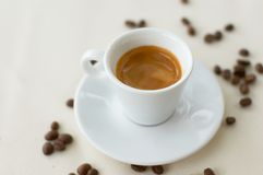Espresso. Coffee in white cup royalty free stock photos
