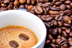 Espresso. Food & Drinks - Cup of espresso on  coffee grains background Stock Photography