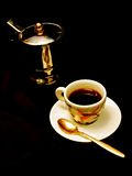 Espresso. Single cup espresso brewer and espresso cup with demitasse spoon Stock Photography