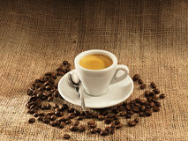 Espresso. Cup surrounded by coffee beans on burlap Stock Photography