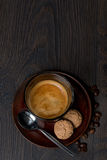 Espresso, almond cookies, top view Stock Image