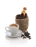 Espresso and a bag of coffee beans with a scoop Stock Photo