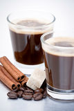 Espresso, Beans and Cinnamon Stock Images