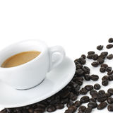 Espresso With Beans - Clipping Path Royalty Free Stock Image