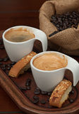 Espresso, Biscotti and Coffee Beans Stock Image