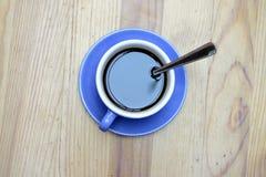 Espresso. Black coffe in blue cup stock photo