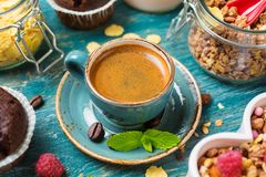 Espresso in a blue bowl Royalty Free Stock Photography