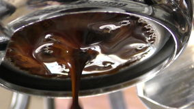 Espresso brewing closeup view stock video footage