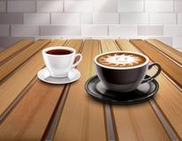 Espresso And Cappuccino Coffee Composition. Cups of espresso and cappuccino coffee composition with sun picture realistic vector illustration royalty free illustration