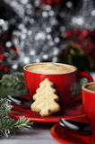 Espresso and Christmas Cookie Stock Photo